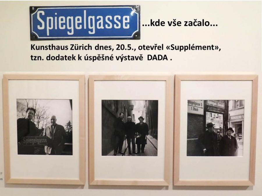 1957: Schifferli, Arp a Huelsenbeck ve Spiegelgasse - Dadaisté se vrací na místo činu