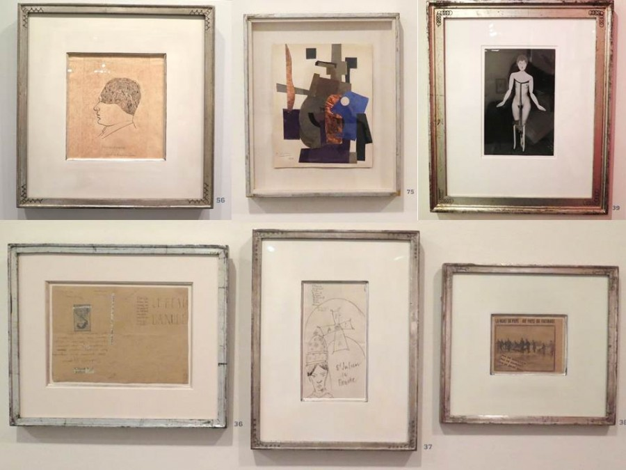 vlevo nahoře: Greta Tzara: portrét manžela Tristana, vedle: Paul Joostans - Abstrakce, vpravo: Man Ray - věšák