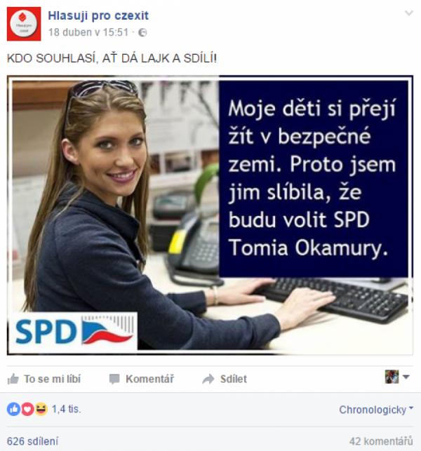 Budu volit SPD Tomia Okamury