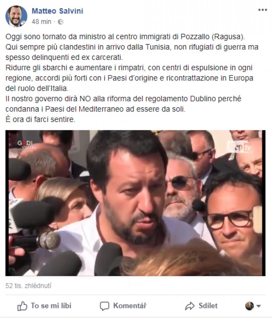 Matteo Salvini - prohlášení ze sicilského hotspotu v Pozzallo.