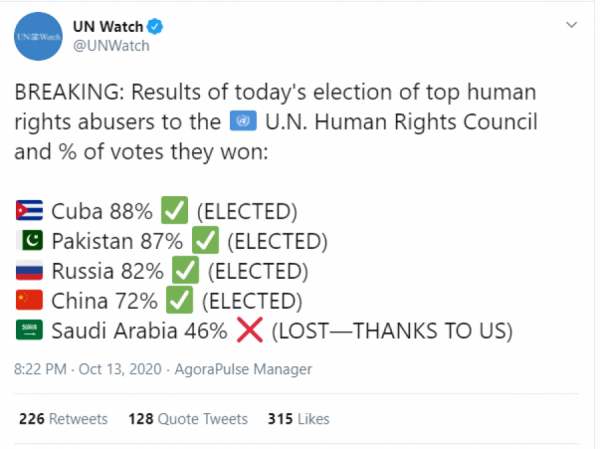 O výsledcích volby informovala jako první monitorovací organizace UN Watch.
