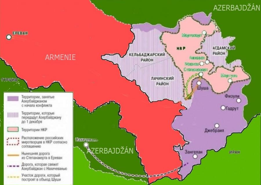 Podrobna mapa okleštěni. Fialově su znazorněna uzemi dobyta Azerama, fialově šrafovane maju Armeni odevzdat utočnikum do několika dnu