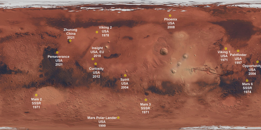 Obrázek: Mapa Marsu. Zdroj: licence CC0, https://pixabay.com/de/photos/karte-mars-planeten-rot-w%C3%BCste-4818850/?download, doplněno D. Tenzler