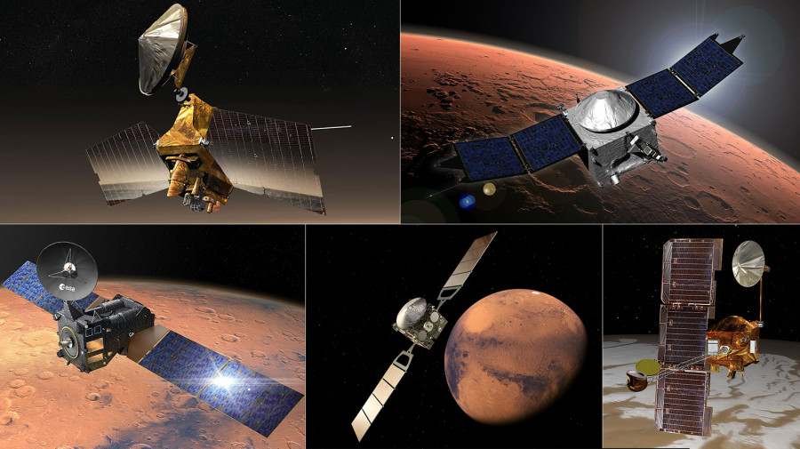 Obrázek: Přenosové orbitální stanice, kroužící kolem Marsu. Zdroj:  NASA / JPL-Caltech, ESA, https://mars.nasa.gov/resources/25589/five-spacecraft-of-the-mars-relay-network/