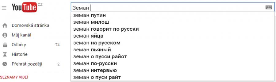 Výsledky našeptávání YouTube