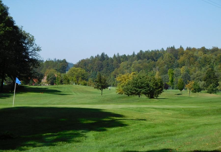A míjím golfové hřiště. Devítijamkové.