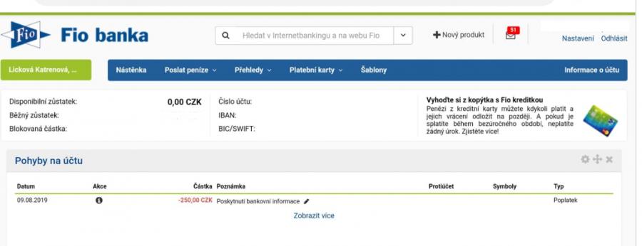 Detail jedné z položek - poplatek je za poskytnutí informace třetí straně.