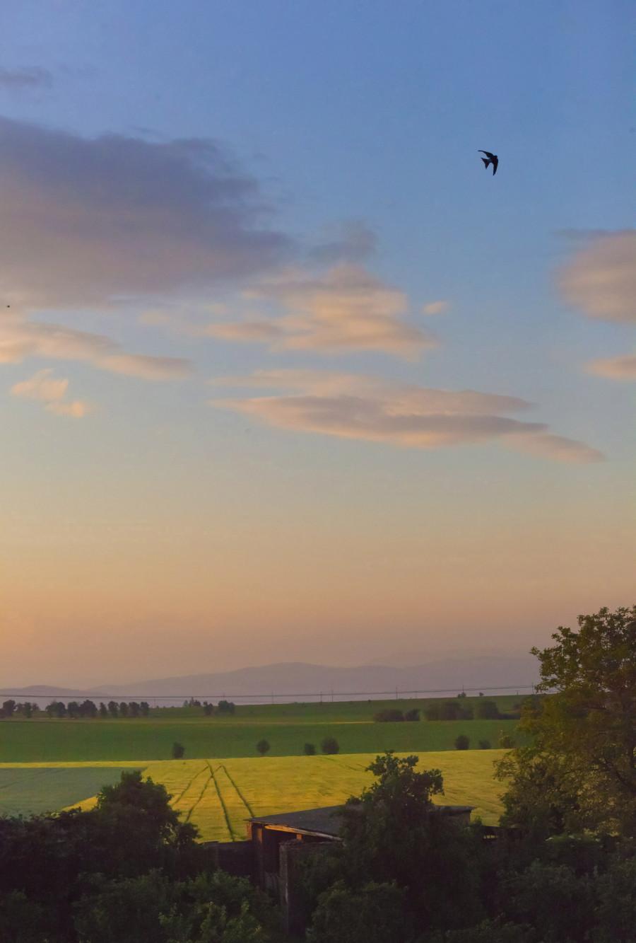 Večerní nebe, na začátku léta (22. červen)