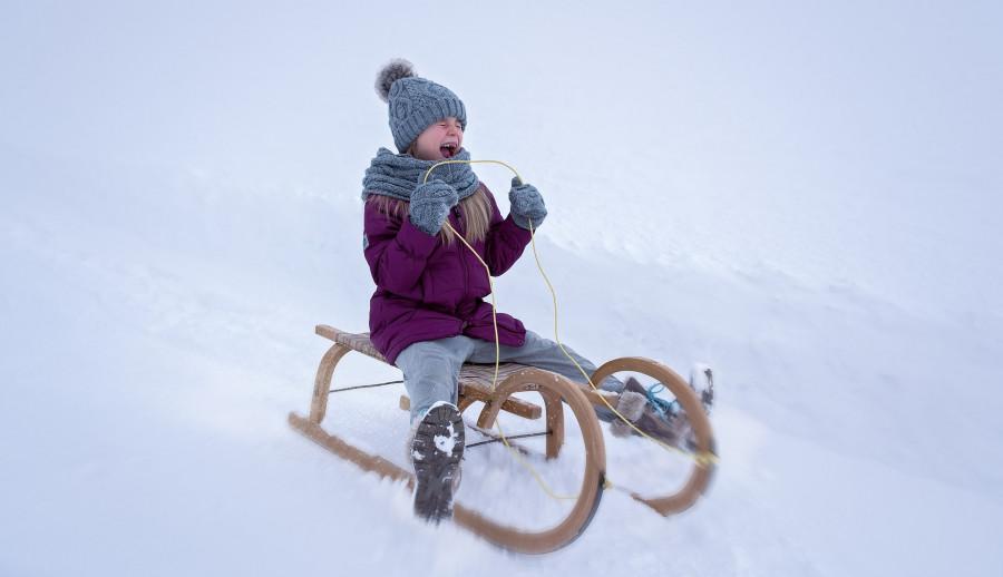 Pohyb sáněk se řídí tak, že se brzdí ve sněhu tou nohou, na kterou stranu chceme sáňky zatočit.