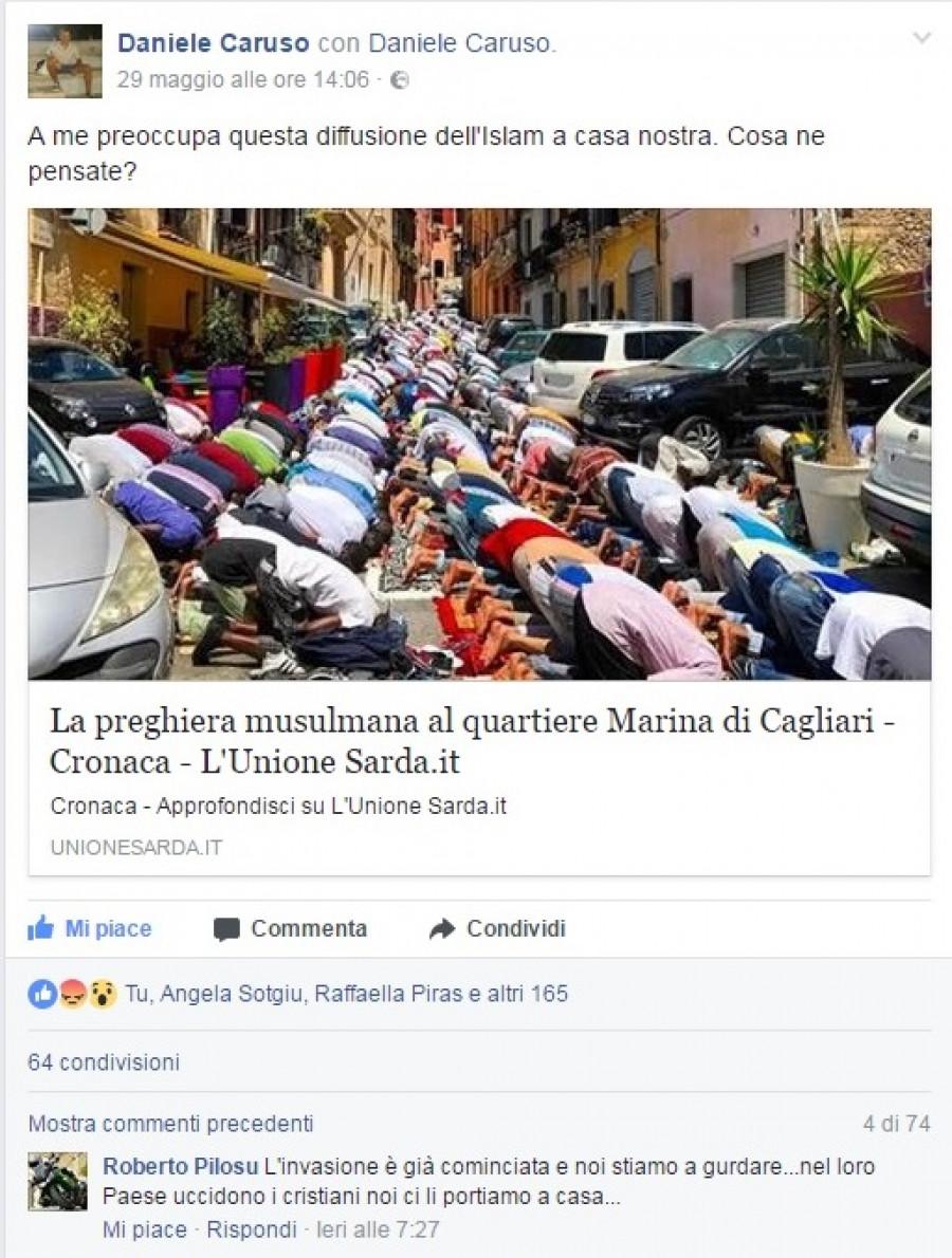 Cagliari ... muslimové zablokovali několik ulic