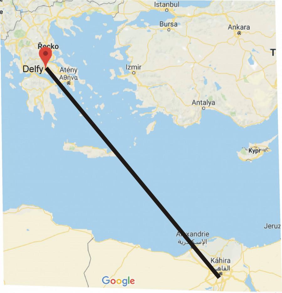 Poloha Alexandrie mezi Gizou a Delfami