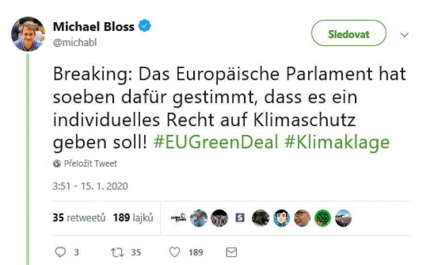 Zelený europoslanec je spokojen.