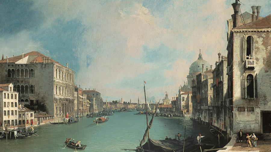 A ještě jeden Canaletto (bohužel v jeho době ještě most Akademie nestál, tekže maloval jen ze břehu),
