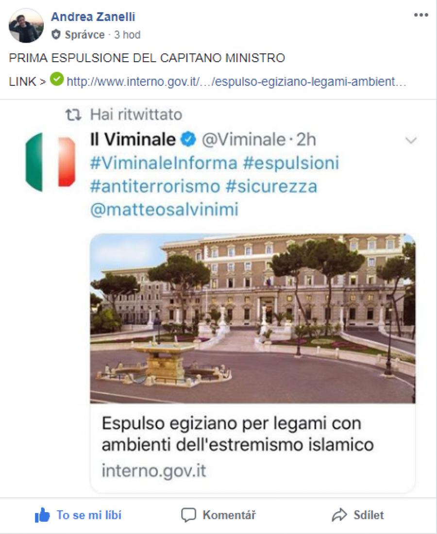 Tuto zprávu o vyhoštění uvedlo Ministerstvo vnitra dne 4. června 2018 a na sociální síti ve Fb skupině  ji  publikoval Andrea Zanelli