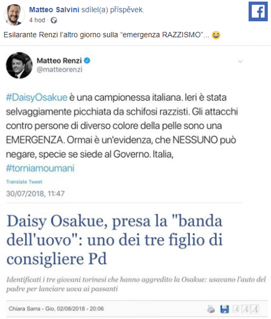 K popukání Renzi před pár dny s historkou o nebezpečí rasismu.