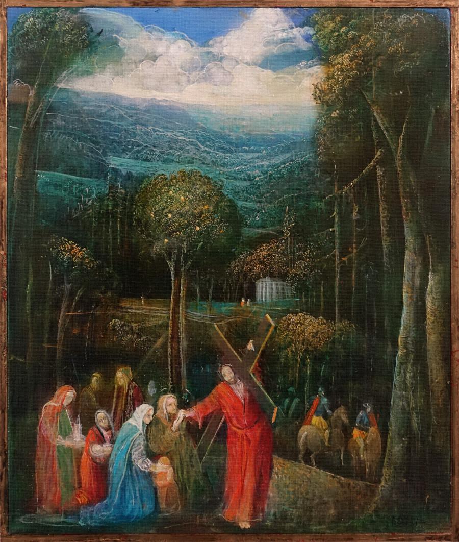 Ježíš a plačící ženy, zastavení z cyklu Křížové cesty pro kostel Svatého Vavřince v Bystřici nad Pernštejnem