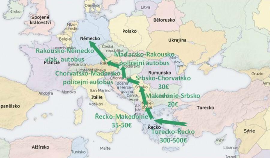 Popis cesty a nákladů na přepravu z Turecka do Německa pro imigranty.