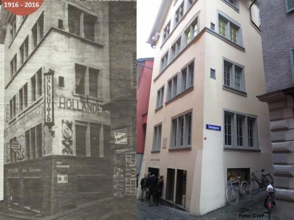 Foto z doby a dnes - středověký dům - fasáda byla vrácena do původní podoby