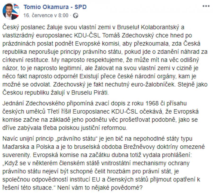 Část reakce Tomia Okamury.