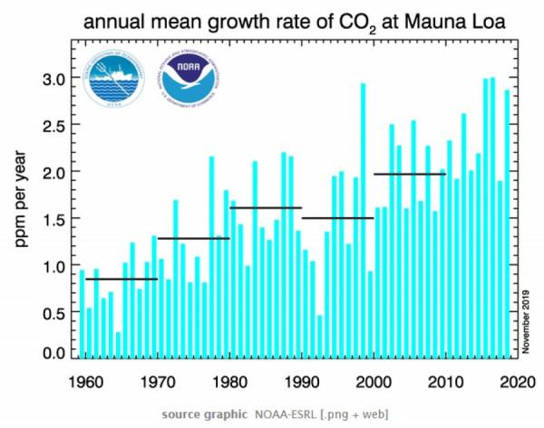 Globálně chladnější rok 2018 vedl ke zpomalení růstu CO2 v atmosféře. Bez ohledu na činnost člověka a klimatické regulace.