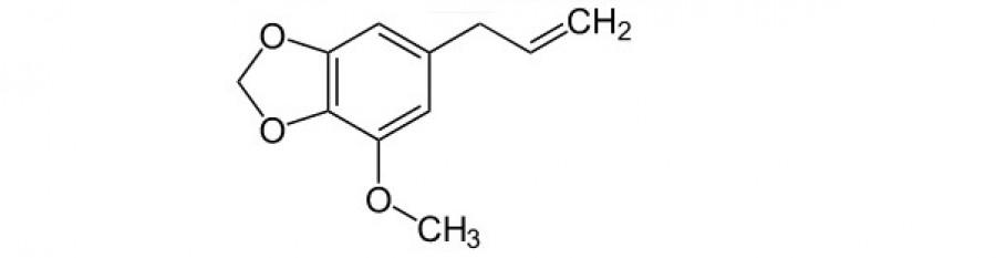 Obrázek: Myristicin. Zdroj: NEUROtiker [Public domain], https://commons.wikimedia.org/wiki/File:Myristicin.svg