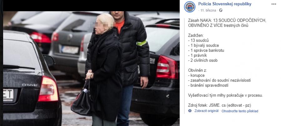 Policie na Slovensku zatkla už 13 soudců a mnohé další dříve vysoce postavené úředníky. https://www.facebook.com/policiaslovakia/photos/a.1522428691120681/3178615185502015/