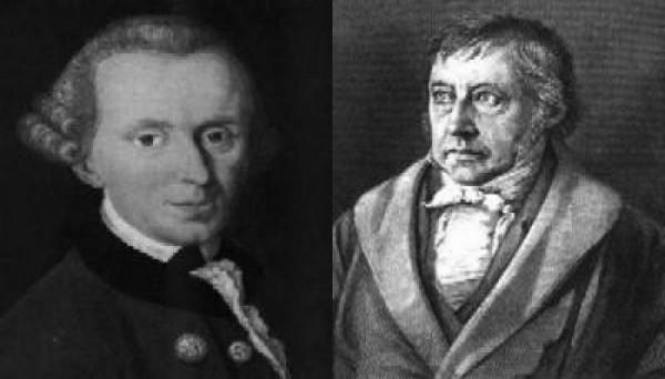 Vlevo Kant, vpravo Hegel.