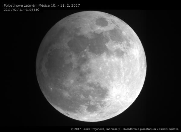 Polostínové zatmění Měsíce 10. -. 11. února 2017 (11. 2. 2017 / 01:08 SEČ)