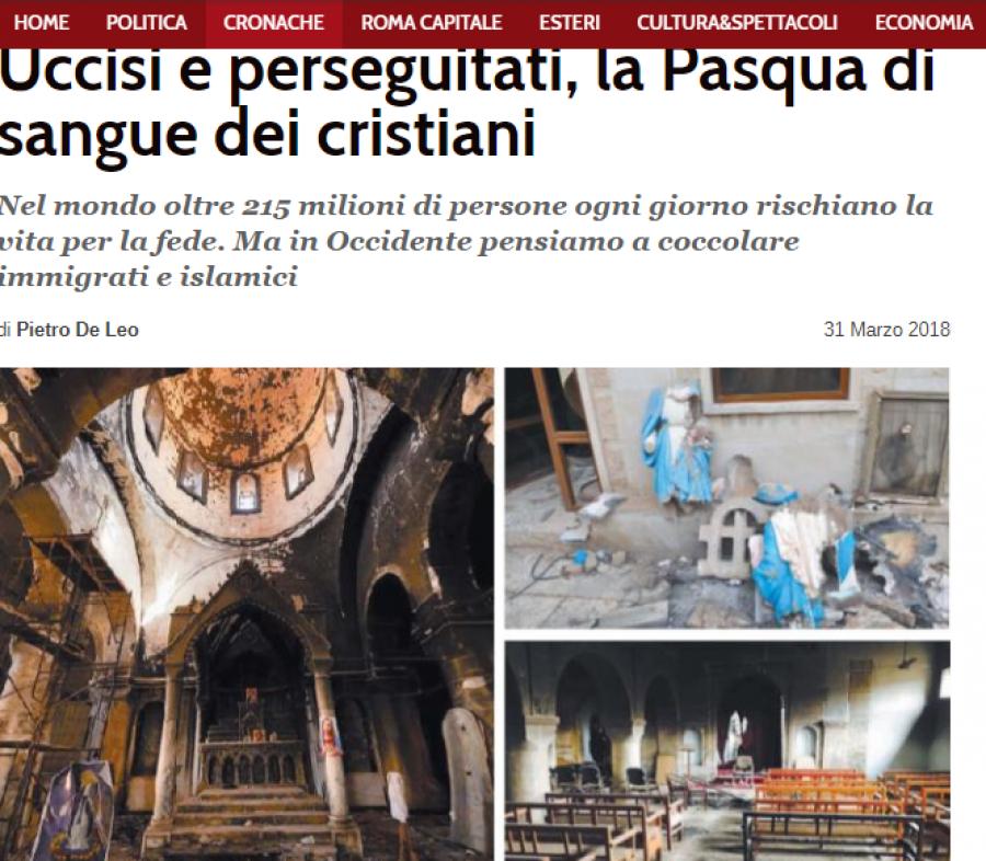 215 milionů lidí riskuje kvůli své víře život , ale zde na západě si mazlíme islámisty ...  článek v deníku ilTempo, autor Pietro De Leo