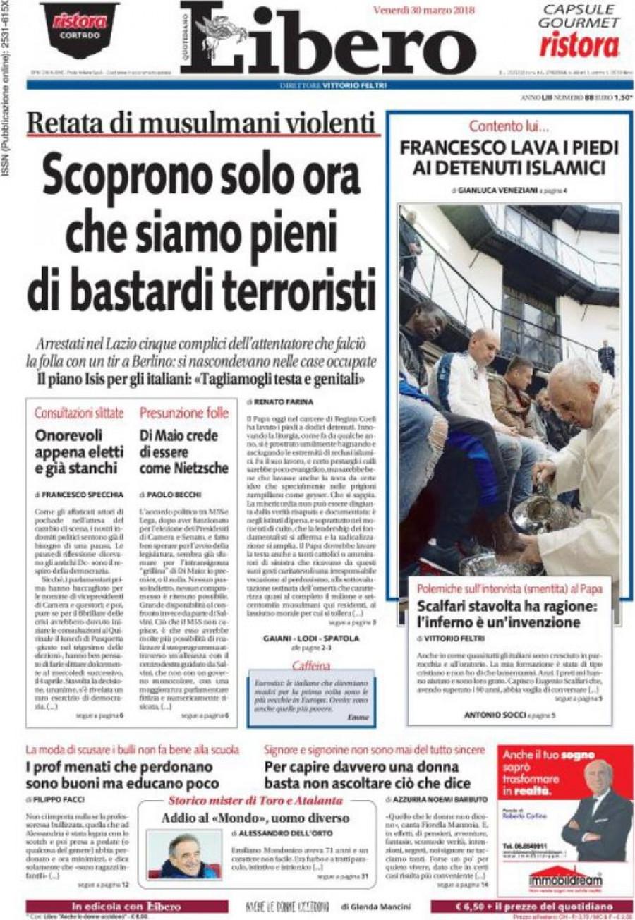 Titulní stránka deníku Libero quotidiano ...