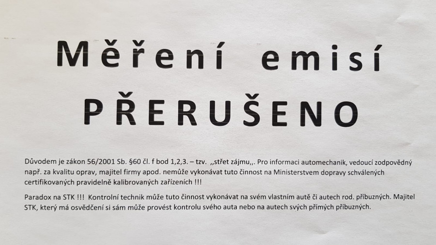 Mafie STK napsala zákon, že autoservis nesmí měřit emise, pokud opravuje auta. Byl by podle novely zákona ve střetu zájmů. Je zajímavé, že stejná směrnice platná pro Česko, Rakušákům ani Němcům měřit a opravovat nezakazuje. Je to jen český zákaz.