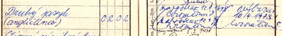 Záznam mé zkoušky z angličtiny ve vysokoškolském indexu. Byl jsem inženýr!