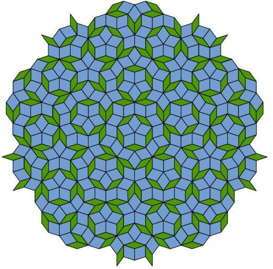Obrázek: Penroseovo dláždění. Zdroj: Inductiveload, Public domain, via Wikimedia Commons, Public domain, via Wikimedia Commons, https://upload.wikimedia.org/wikipedia/commons/1/1a/Penrose_Tiling_%28Rhombi%29.svg