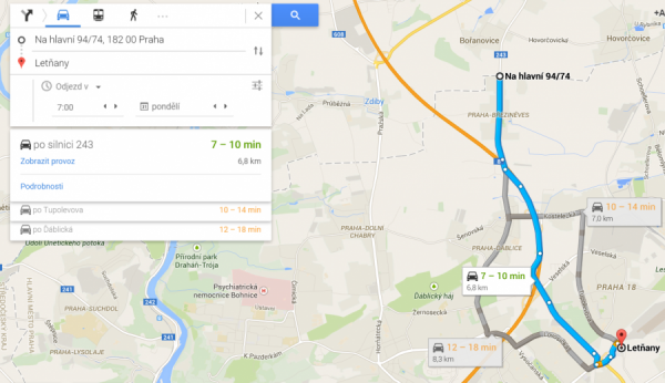 Obr. 1 Printscreen z maps.google.com, dojezd na Letňany.