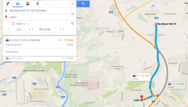 Obr. 2 Printscreen z maps.google.com. Dojezd na Ládví.