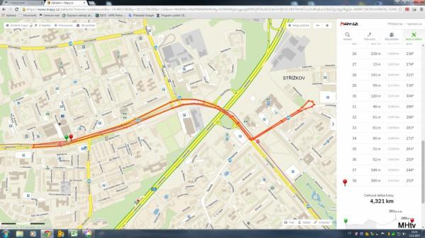 Obr. 4 Autobusy najedou 4,3 km, když jedou parkovat na Střížkov a pak se zas vracejí na Ládví!
