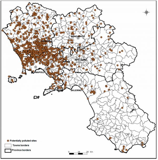 Ilegální sládky toxického odpadu v Kampánii. Zdroj: ARPAC