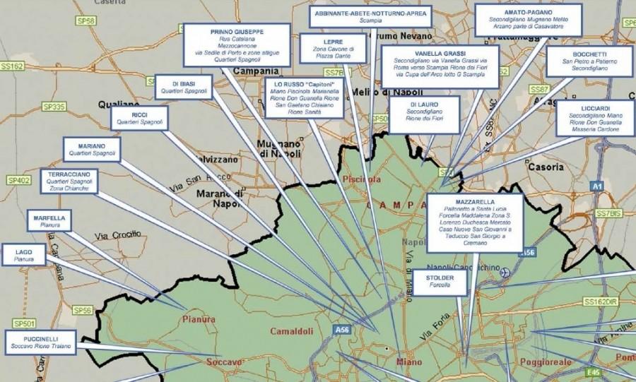 Schéma působnosti klanů severní části Neapole. Převzato ze zprávy Direzione Investigativa Antimafia vydané k prvnímu pololetí roku 2014.