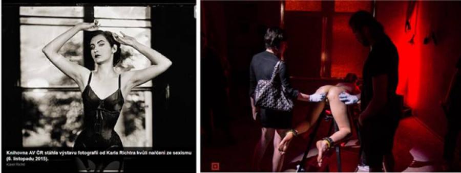 Obrázek 1: Vlevo fotografie z výstavy Karla Richtera, která musela být po ostrých protestech feministek stáhnuta. Vpravo fotka z výstavy Voayer, proti které feministky neprotestují.