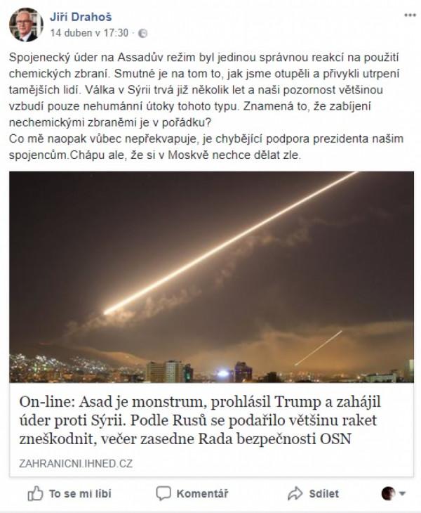 Jiří Drahoš, FB