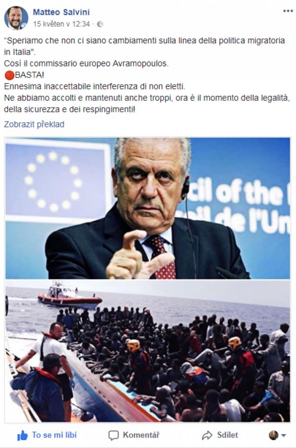 """Doufáme, že v Itálii nebude žádná změna v oblasti migrační politiky"""". Takto se vyjádčil evropský komisař Avramopoulos."""