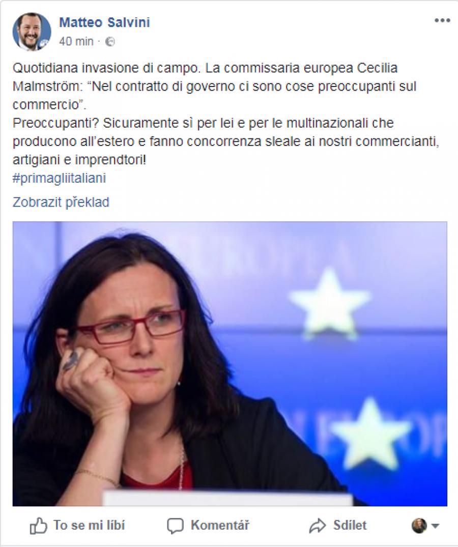 Evropská komisařka Cecilia Malmströmová: Ve vládní smlouvě jsou znepokojivé  věci ohledně obchodu.