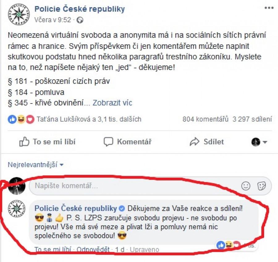 FB příspěvek Policie ČR