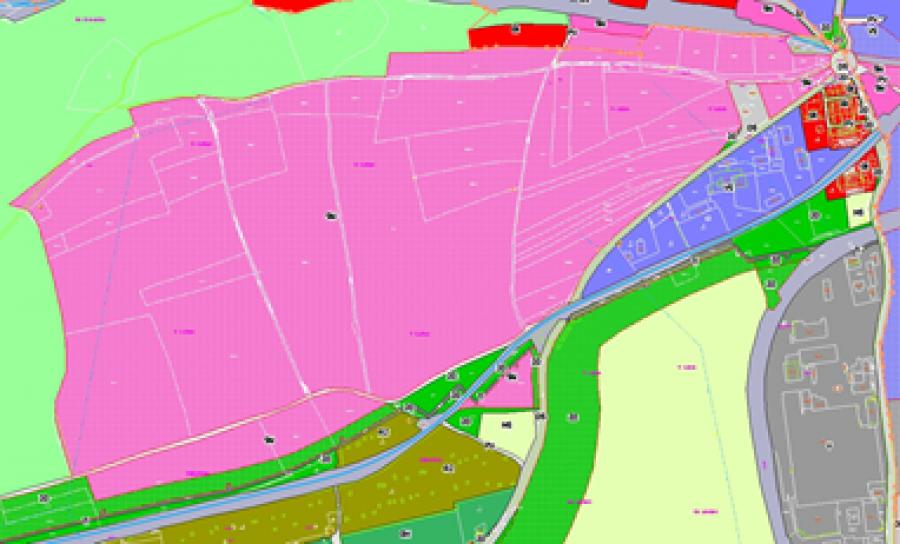 výřez platného územního plánu Kladno, lokalita Na Kopci