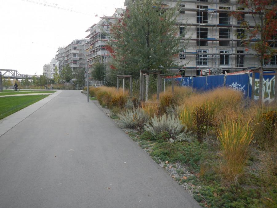nově zakládaný park ještě před dokončením výstavby domů kolem, Berlín Německo
