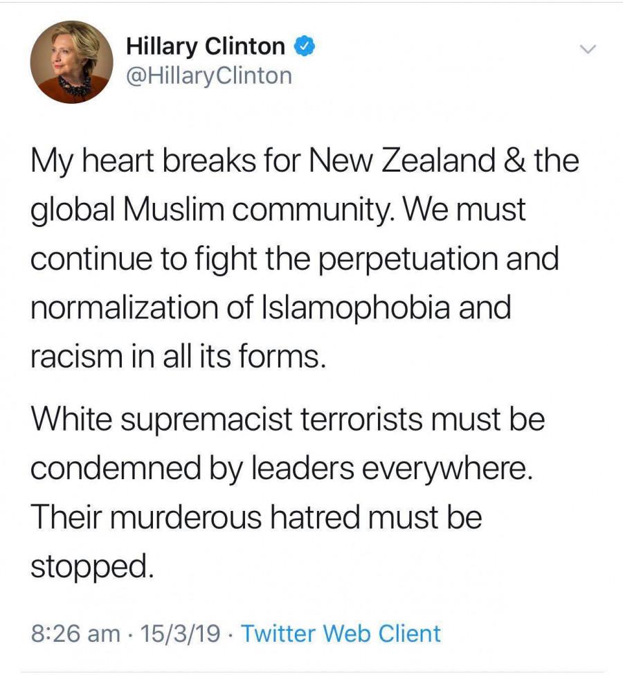 Tweet Hillary Clintonové k útoku na Novém Zélandu, kdy se nebála jasně pojmenovat viníky a oběti.