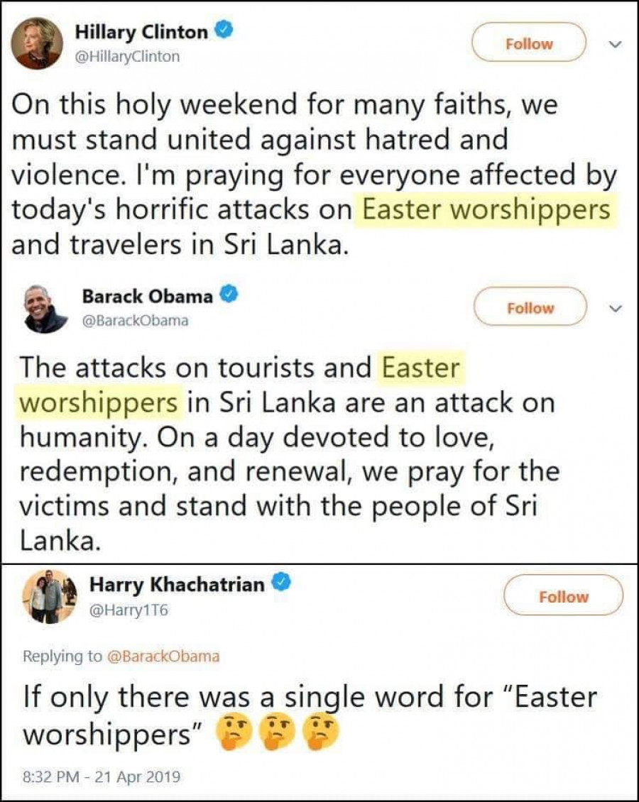 Twittrové statusy Hillary Clintonové a Baracka Obamy s výrazem