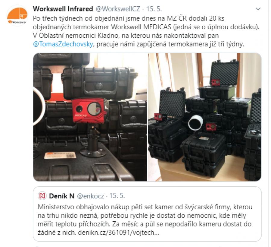Česká firma Workswell lidí z ČVUT dodala ministerstvu kompletní dodávku zdravotnických termokamer do 3 týdnů po objednání. O 2. poloviny dubna jejich kamera slouží i v nemocnici v Kladně.