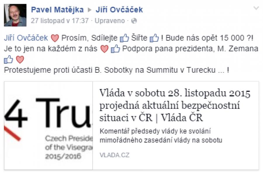 FB příspěvek Pavel Matějka