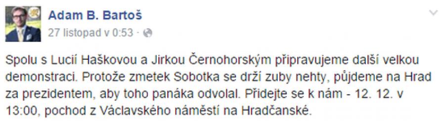 FB příspěvek Adam Bartoš